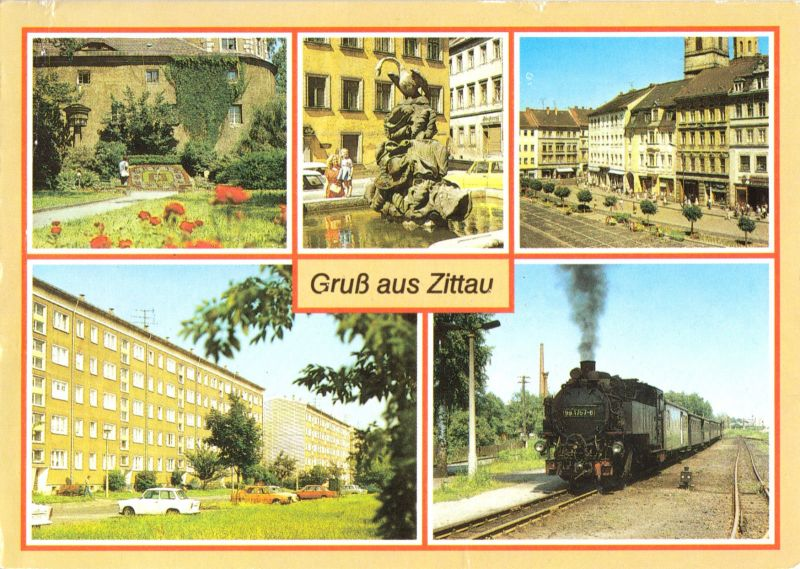 Ansichtskarte, Zittau, fünf Abb., um 1989