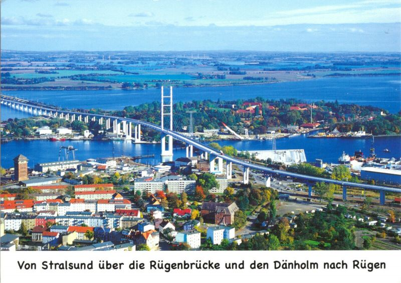 Ansichtskarte, Stralsund, Rügenbrücke, Luftbild mit Insel Dänholm, um 2010