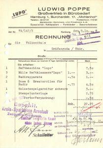 Rechnung, Ludwig Poppe, Großvertrieb in Bürobedarf, Hamburg, 1938