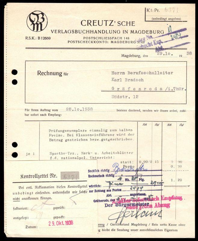 Rechnung, Creutz'sche Verlagsbuchhandlung in Magdeburg, 29.10.38