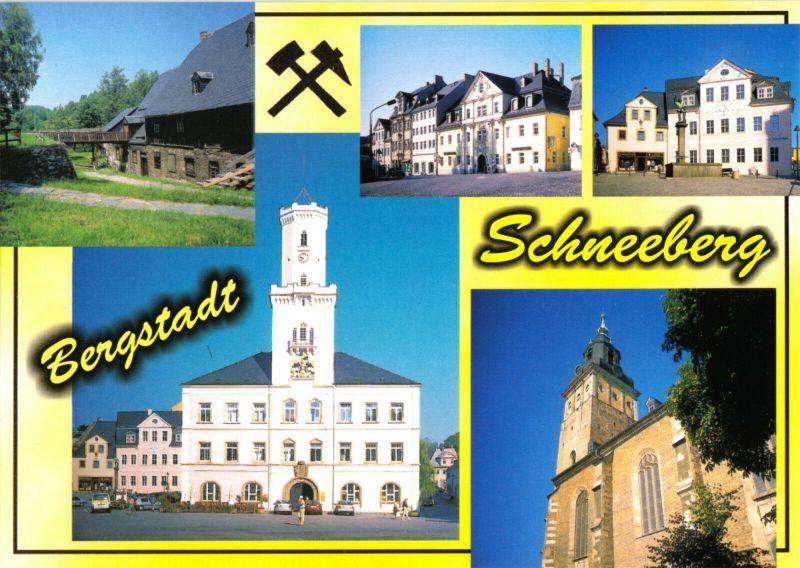 Ansichtskarte, Bergstadt Schneeberg Erzgeb., fünf Abb., gestaltet, um 2005