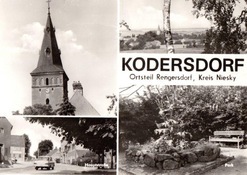 Ansichtskarte, Kodersdorf OT Rengersdorf, Kr. Niesky, vier Abb., 1976