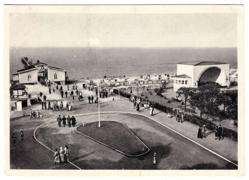Ansichtskarte, Ostseebad Zinnowitz auf Usedom, Haupteingang zum Strand, 1951