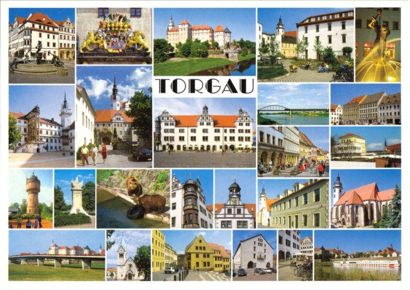 Ansichtskarte, Torgau, 25 Miniabb., um 2000