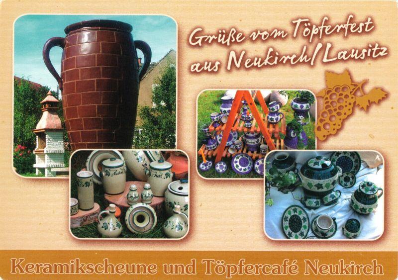 Ansichtskarte, Neukirch Lausitz, Grüße vom Töpferfest, vier Abb., um 2005