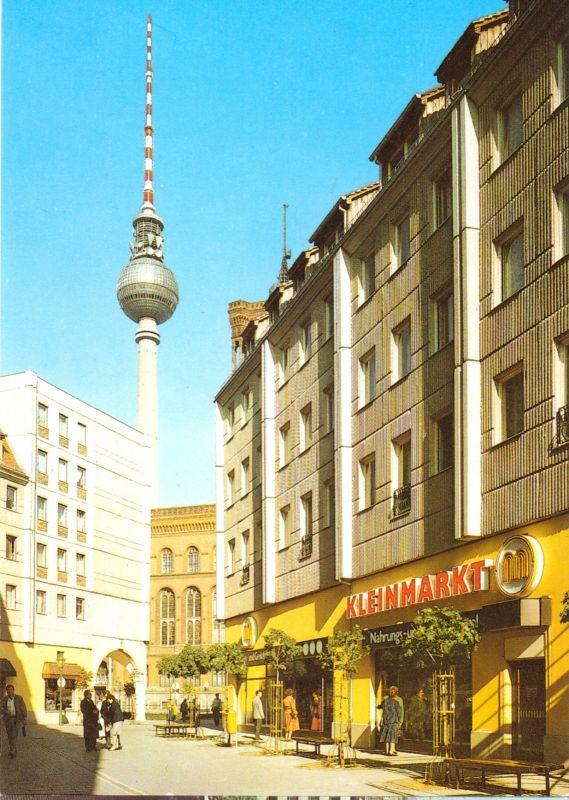 Ansichtskarte, Berlin Mitte, Nikolaiviertel, Straßenpartie mit Kleinmarkt, belebt, 1988