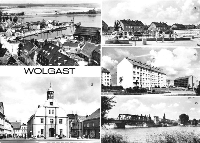 Ansichtskarte, Wolgast, fünf Abb., 1977