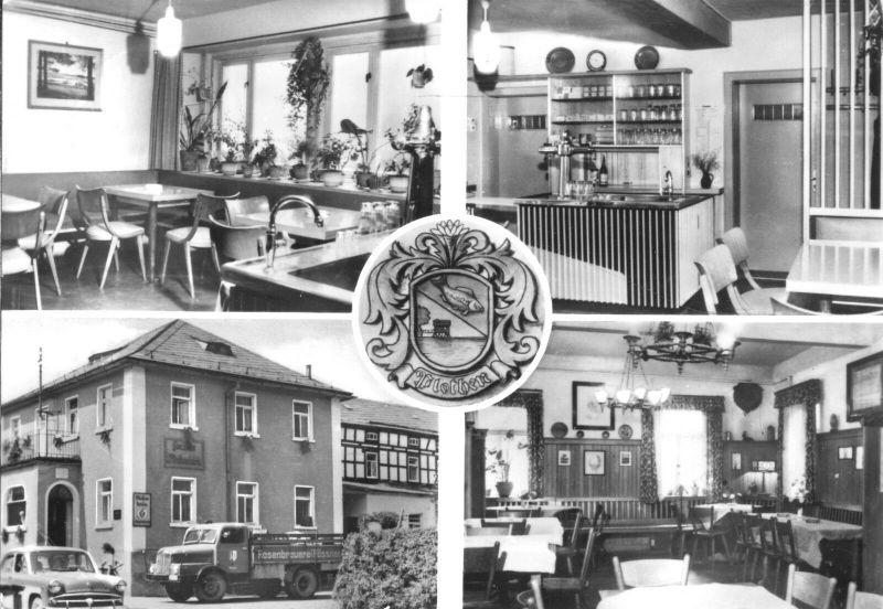 Ansichtskarte, Plothen Kr. Schleiz, Gasthaus zum Plothenteich, vier Abb., 1979