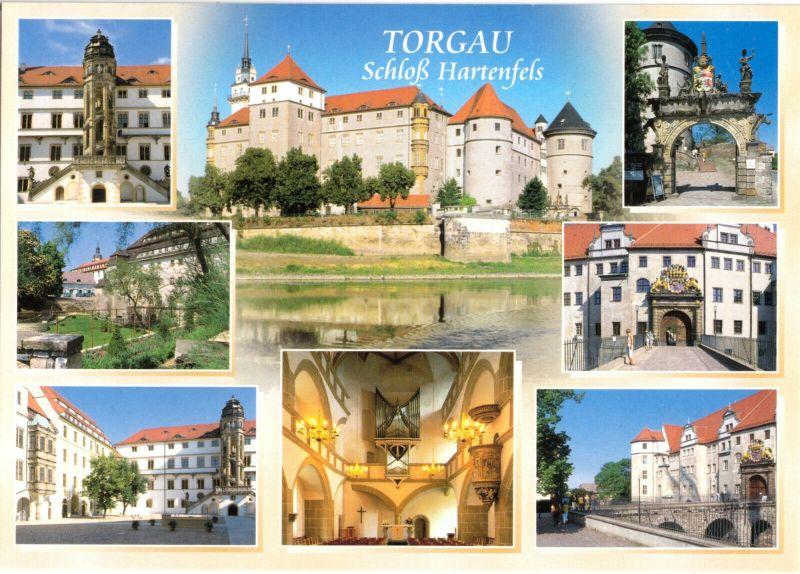 Ansichtskarte, Torgau, Schloß Hartenfels, acht Abb., um 2000