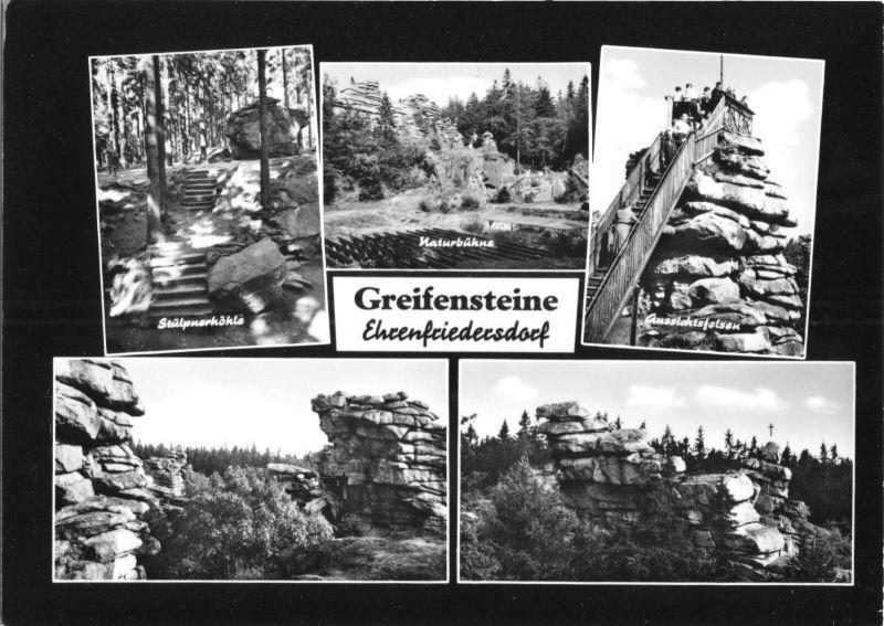 Ansichtskarte, Ehrenfriedersdorf, Erholungsgebiet Greifensteine, fünf Abb., gestaltet, 1966