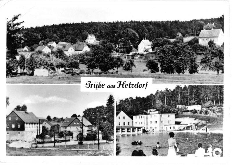 Ansichtskarte, Hetzdorf Kr. Freiberg, drei Abb., 1977