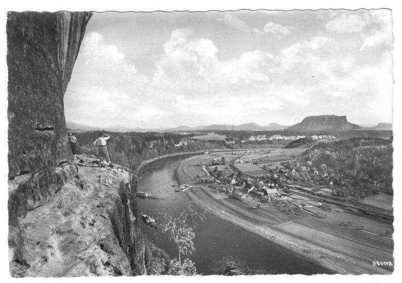 Ansichtskarte, Lilienstein Sächs. Schweiz, Rahmhanke, Blick elbaufwärts, 1961