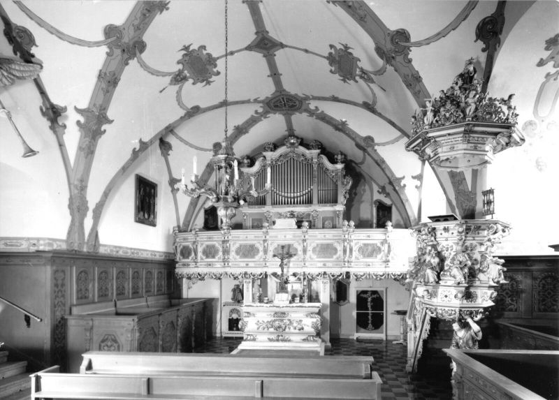 Ansichtskarte, Burgk, Schloßkapelle mit Silbermann-Orgel, 1970