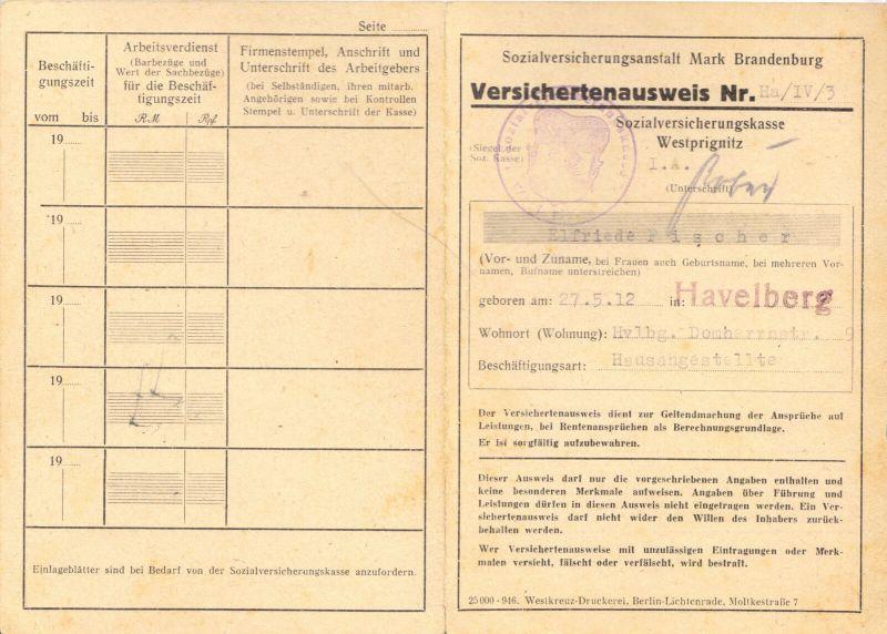 SVK Brandenburg, Westprignitz, Havelberg, Ausweis mit Dienstsiegeln, 1946-1948