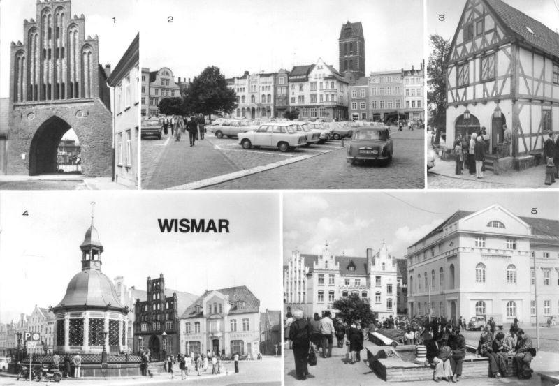 Ansichtskarte, Wismar, fünf Abb., Version 1, 1984