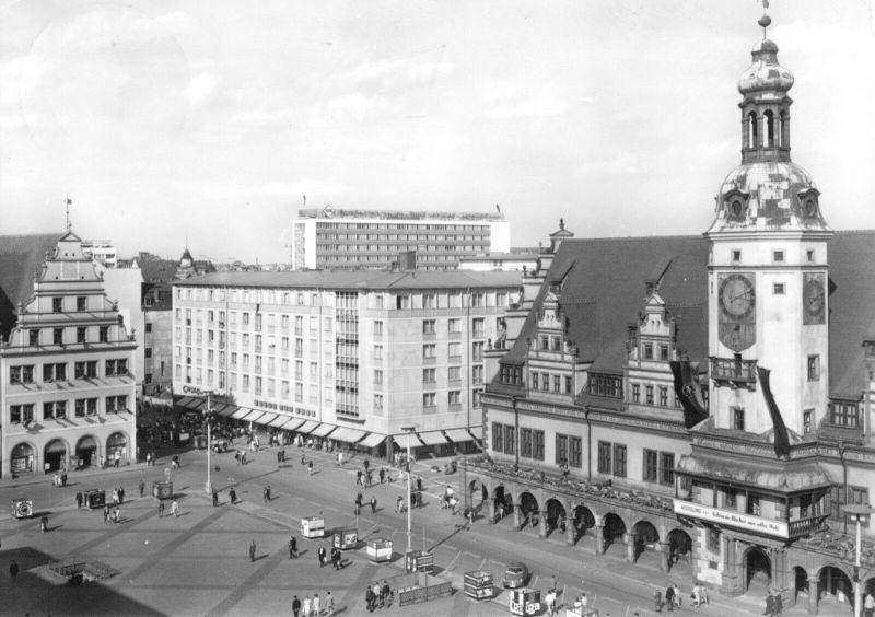 Ansichtskarte, Leipzig, Partie am Markt mit Altem Rathaus, 1967