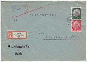 Bedarfsbeleg, R-Brief, DR 525 MiF 518, Ranis (Kr. Ziegenr.),29.1.41, Postauftr.