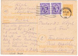 Ganzsache, Brit. Zone, Michel-Nr. P 905 mit Zufr. (2) Bi-Zone 10, 26.3.46