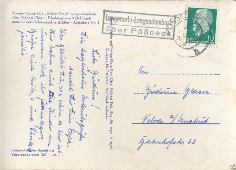 Landpoststempel, Poststelle II, Langenorla-Langendembach über Pößneck, 2.7.62