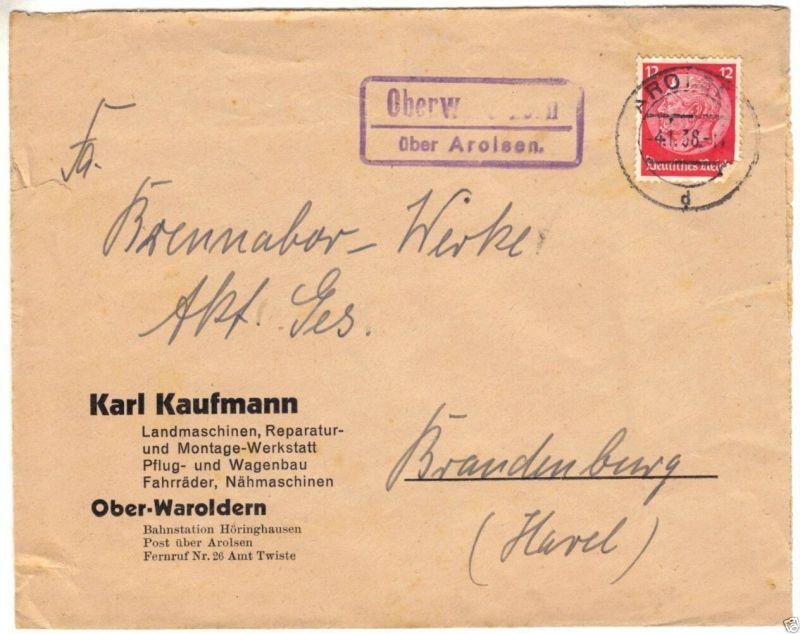 Landpoststempel, Poststelle II, Oberwaroldern über Arolsen, Arolsen, 4.1.38