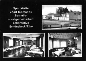 Ansichtskarte, Schönebeck Elbe, Sportstätte des BSG Lokomotive Schönebeck, drei Abb., 1982