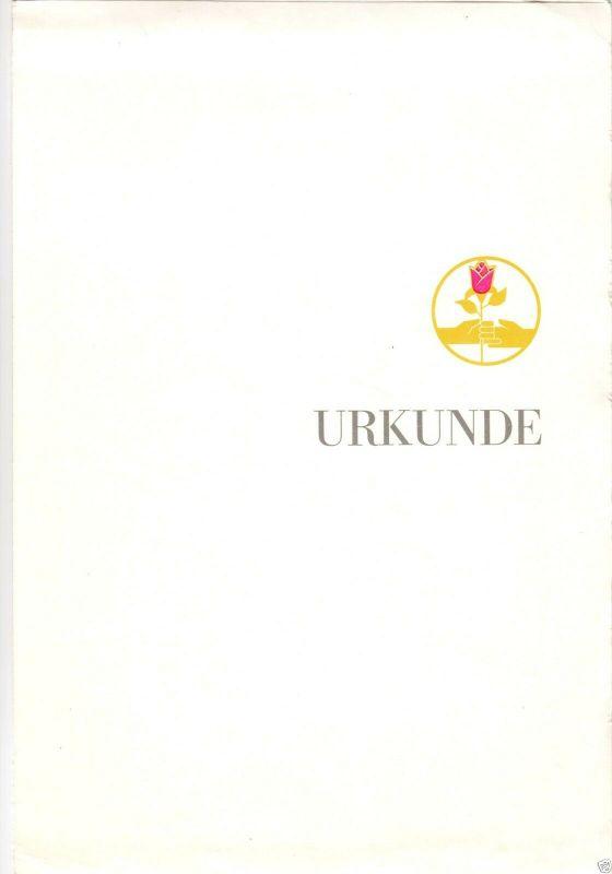 Urkunde zum Ehrenzeichen für vorbildliche Nachbarschaftshilfe, Suhl, 7.10.1986