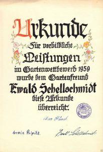 Urkunde, Vorbildliche Leistungen im Gartenwettbewerb 1959, VKSK OG Muskau