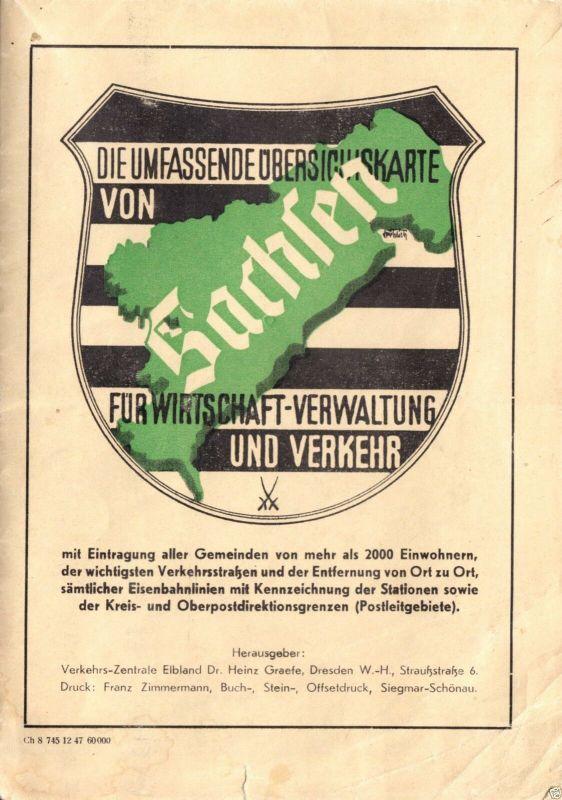 Übersichtskarte von Sachsen, 1947