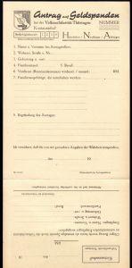 Antrag auf Geldspenden bei der Volkssolidarität Thüringen, blanko, um 1948