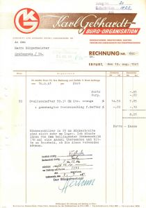 Rechnung, Fa. Karl Gebhardt Büro-Organisation, Erfurt, 19.8.41