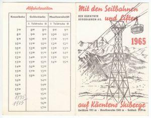 Fahrplan der Kärntener Bergbahnen AG, 1965