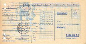 Beleg, Postzeitungsvertrieb der Post, Stempel Gräfenroda, 1953, Werbeanhang