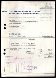 Rechnung, Fa. Fritz Zipfel, Wünschendorf Elster, Papierausstattungsfabrik, 1949