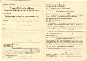 Deutsche Reichsbahn, Antrag auf Fahrpreisermäßigung für Arbeiterrückfahrkarten