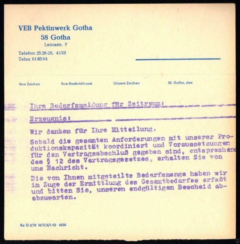 Mitteilungsbeleg der Fa. VEB Pektinwerk Gotha aus dem Jahre 1978 0