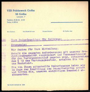 Mitteilungsbeleg der Fa. VEB Pektinwerk Gotha aus dem Jahre 1978