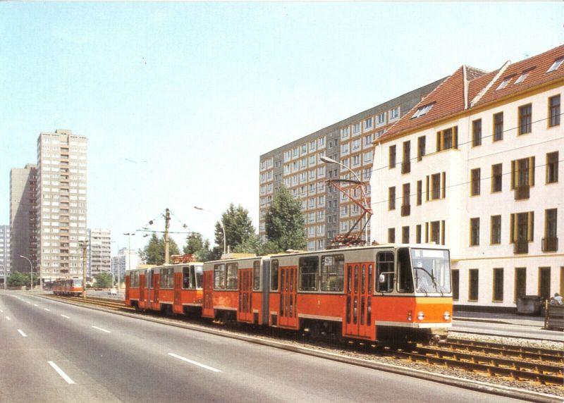 Ansichtskarte, Berlin, Straßenbahn, Tatra-Traktion KT4D, Bauart 1978, 1989