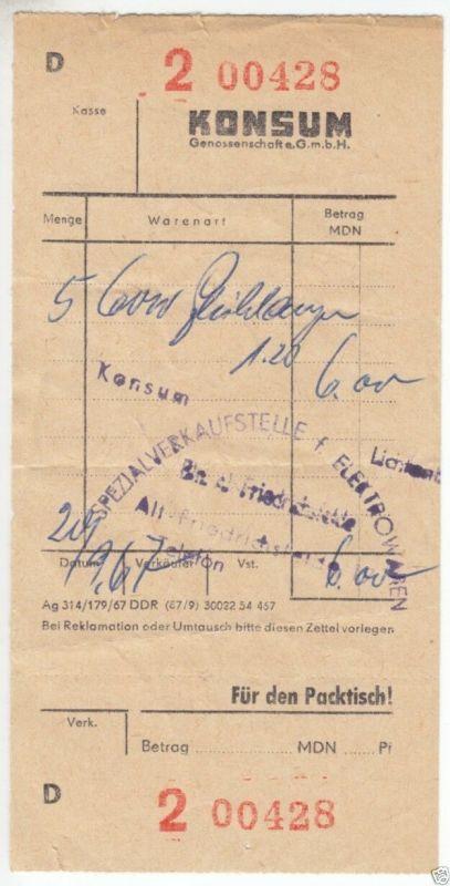 Rechnungsbeleg des Konsums, Fachgeschäft in Berlin Lichtenberg, 1967