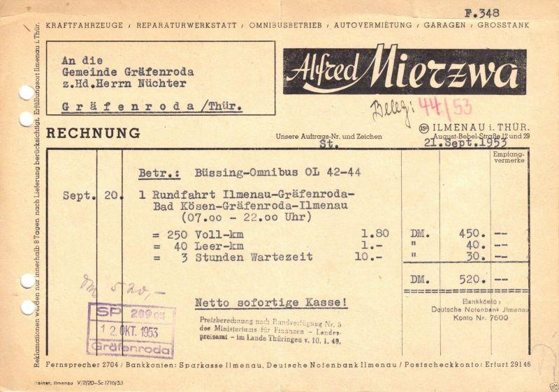 Rechnung, Fa. Alfred Mierzwa, Ilmenau Thür., 1953