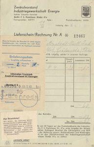 Rechnungen, Zentralvorstand Industriegewerkschaft Energie, Berlin C 2, Juni 1952