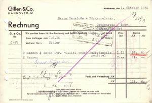 Rechnung, Fa. Gillen & Co., Hannover - M., 1936