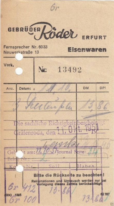 Rechnung, Fa. Gebrüder Röder, Erfurt, 11.10.51