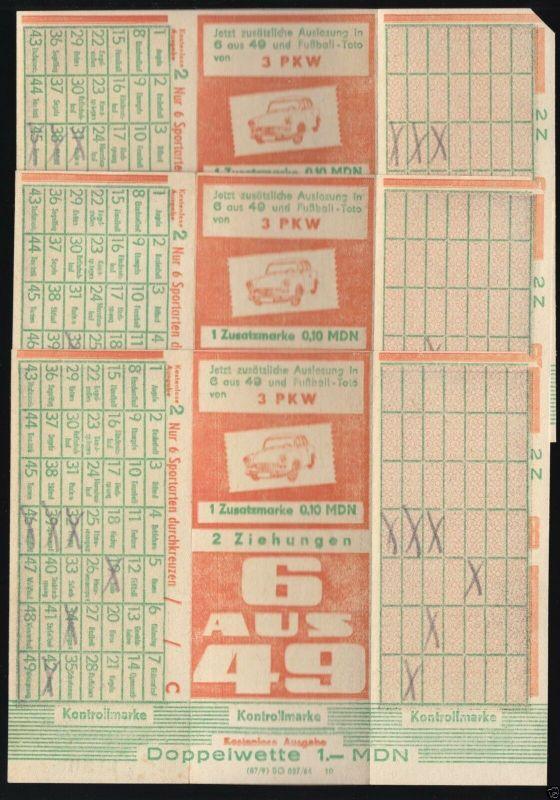 Drei Tippscheine des Lottos 6 aus 49, angekreuzt, aber nicht abgegeben, 1964