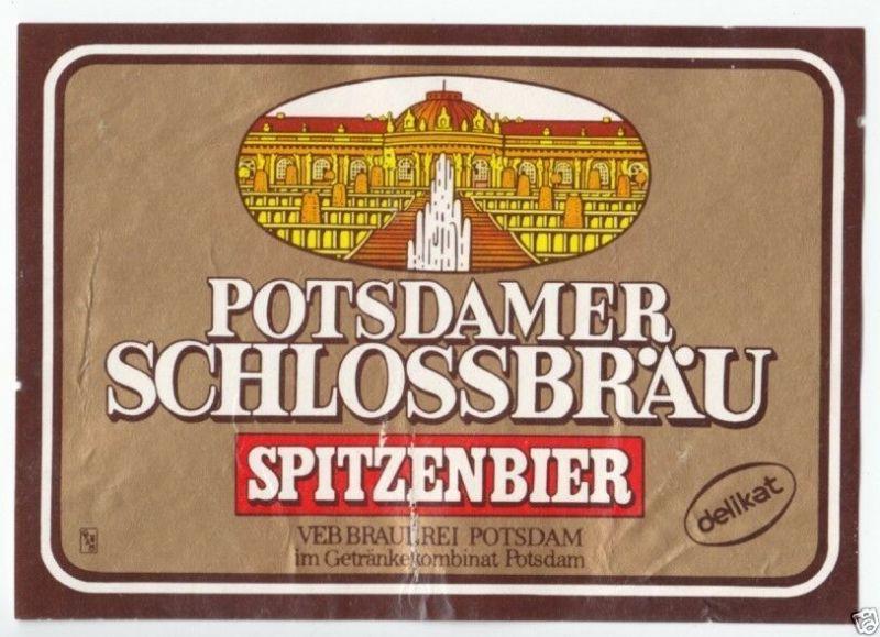 Bieretikett, Potsdamer Schloßbräu, Brauerei Potsdam, um 1986