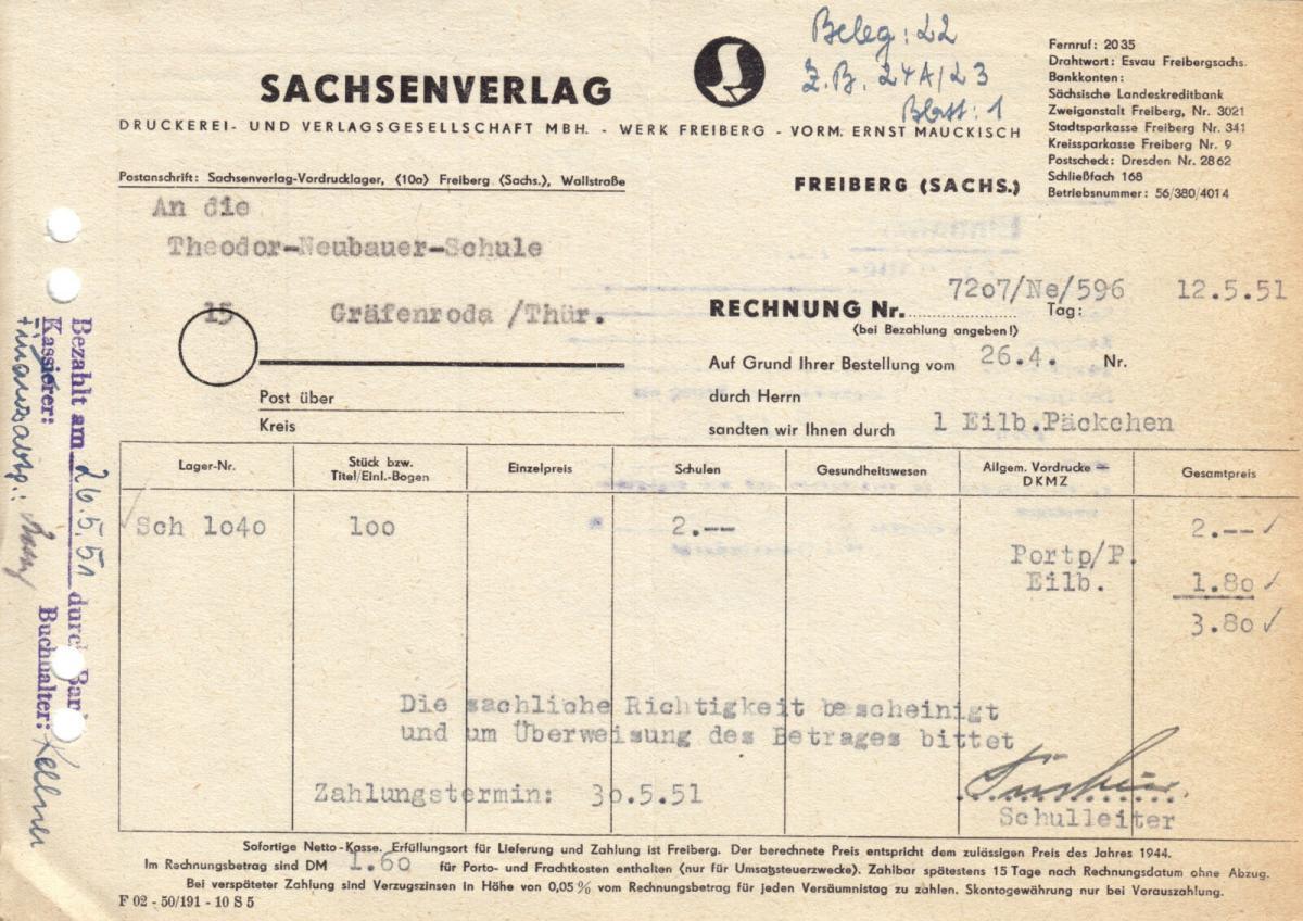 Rechnung, Sachsenverlag Werk Freiberg, vorm. Ernst Mauckisch, 12.5.51