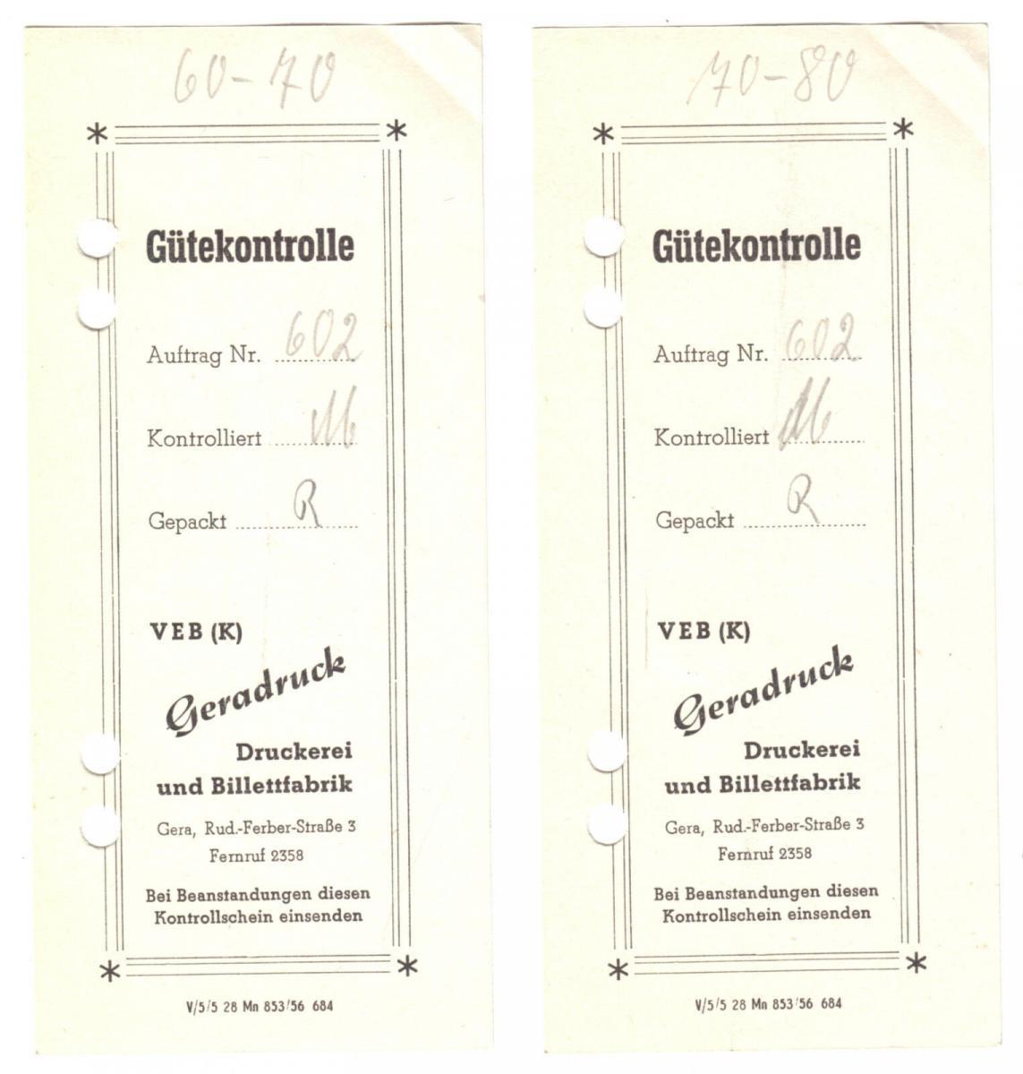Zwei Gütekontrolle - Zettel, VEB (K) Geradruck, Druckerei u. Billettfabrik, 1956