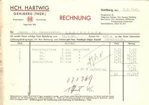 Rechnung, Fa. Hch. Hartwig, Gehlberg Thür., 8.8.1946