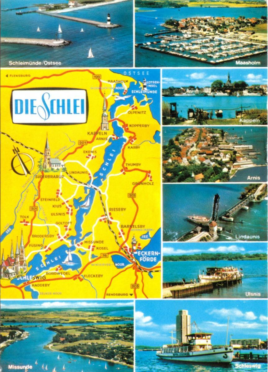 Ansichtskarte, Die Schlei zwischen Schleswig und Schleimünde, acht Abb. u. Landkarte, 1986