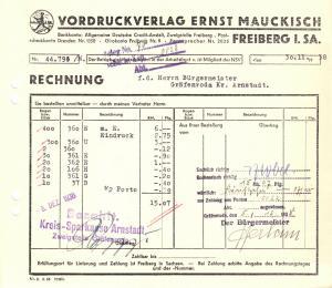 Rechnung, Vordruckverlag Ernst Maukisch, Freiberg i. Sa., 30.11.38