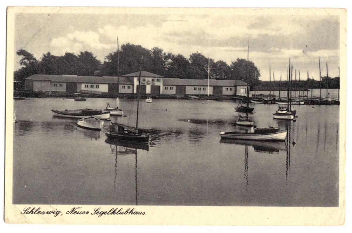 Ansichtskarte, Schleswig, Neues Segelklubhaus, Segelboote, um 1938